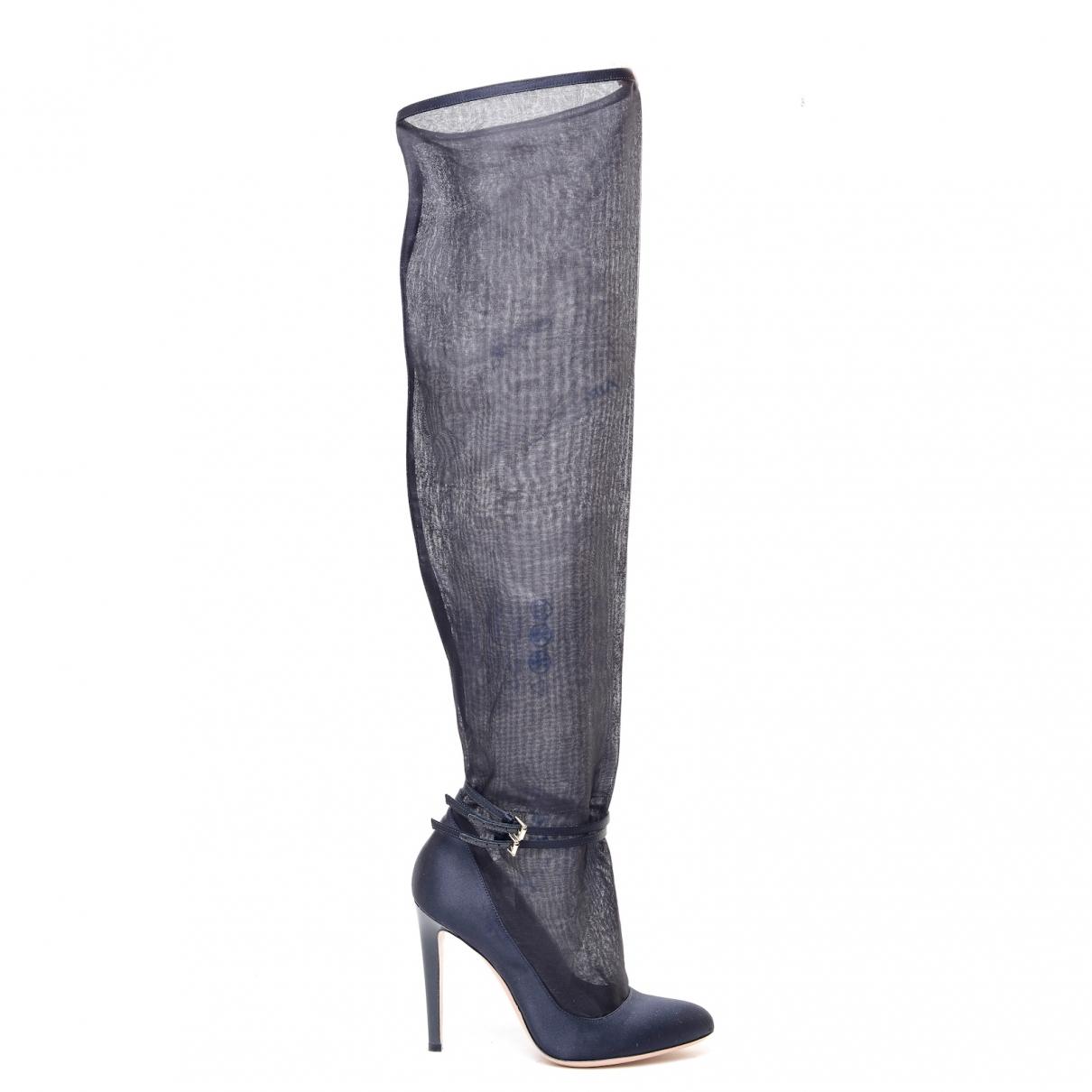 Gianvito Rossi - Bottes   pour femme en toile - noir