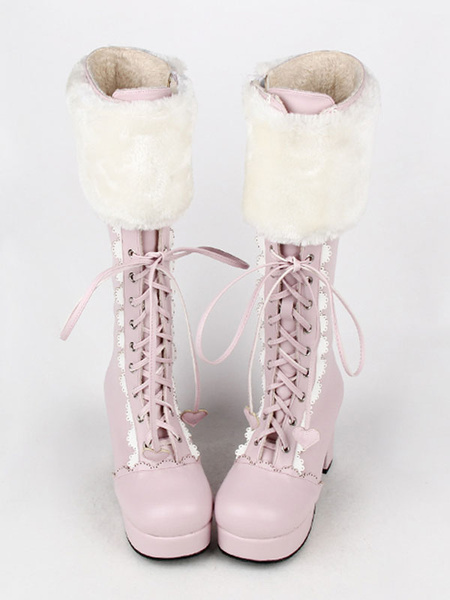 Milanoo Sweet Lolita Boots Pink Faux Fur Lace Up Chunky Heel Boots