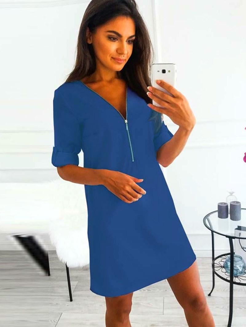 Ericdress Long Sleeve Knee-Length V-Neck Casual Pullover Dress