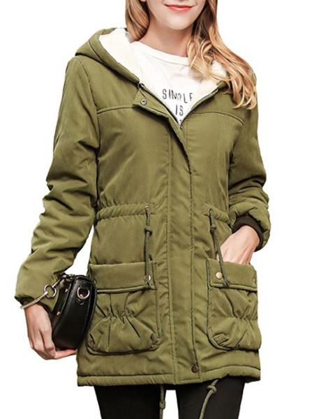 Milanoo Puffer Coats Khaki Pockets Turndown Collar Zipper Long Sleeves Casual Winter Coat Outerwear