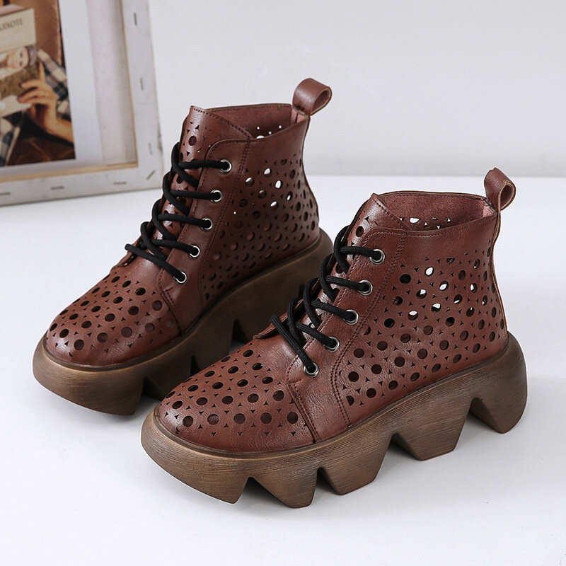 Large Size Women Casual Platform Hollow Breathable Lace Up Ankle Boots
