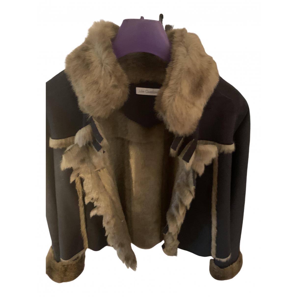 - Manteau   pour femme en fourrure synthetique - noir