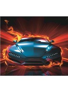 Vivilinen 3D Blue Sports Car with Fire Printed 4-Piece Bedding Sets/Duvet Covers