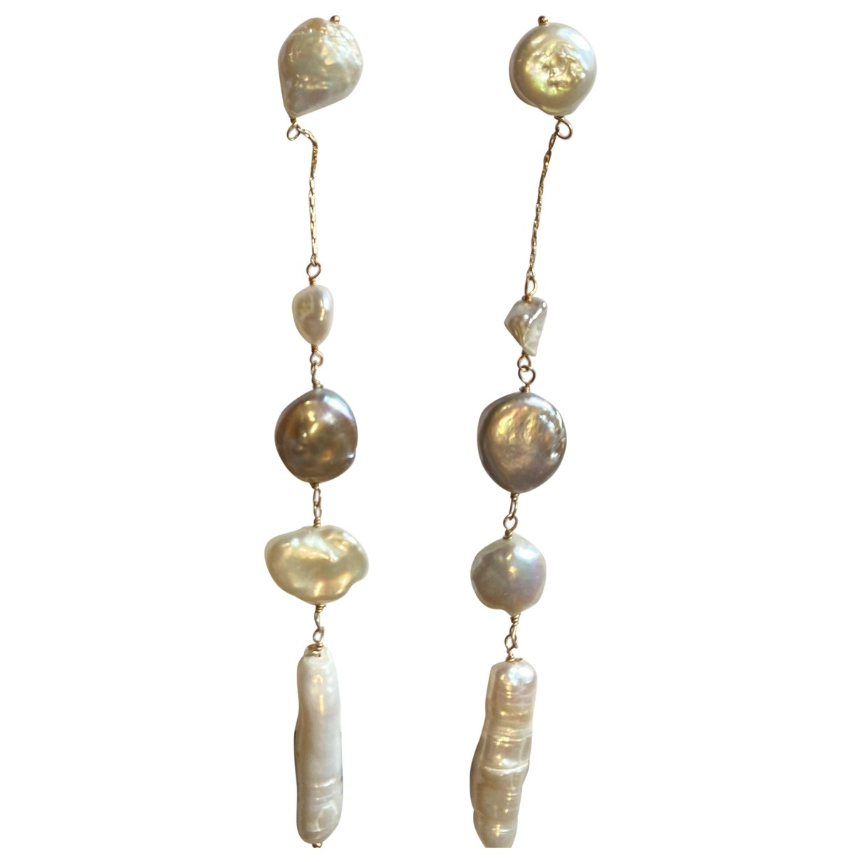 Zara \N White Pearls Earrings for Women \N