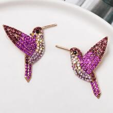 1 Paar Strass gravierte vogelformige Ohrringe