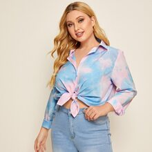 Plus Tie Dye Button Front Blouse