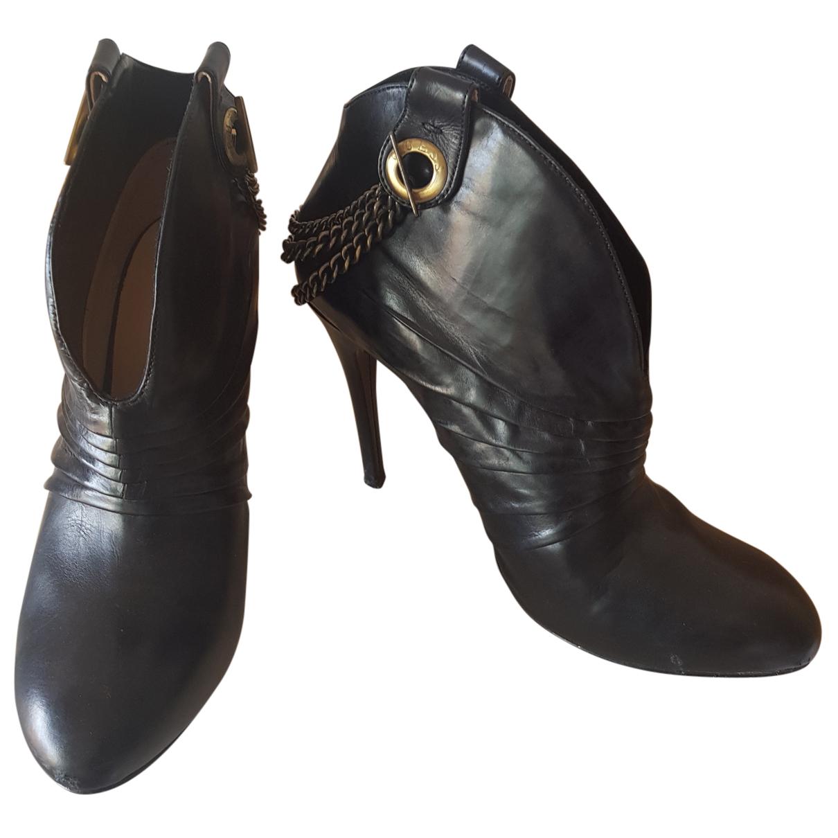 Guess - Boots   pour femme en cuir - noir