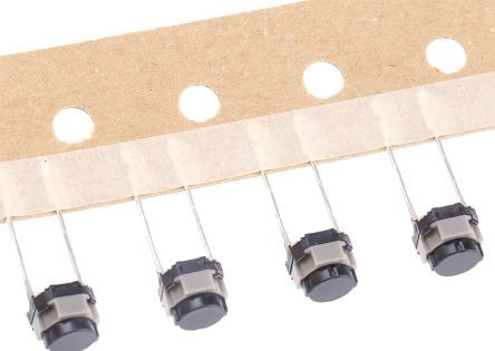 Panasonic Black Push Plate Tactile Switch, Single Pole Single Throw (SPST) 50 mA @ 12 V dc 5mm (10)