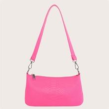 Neon Hot Pink Croc Embossed Baguette Bag