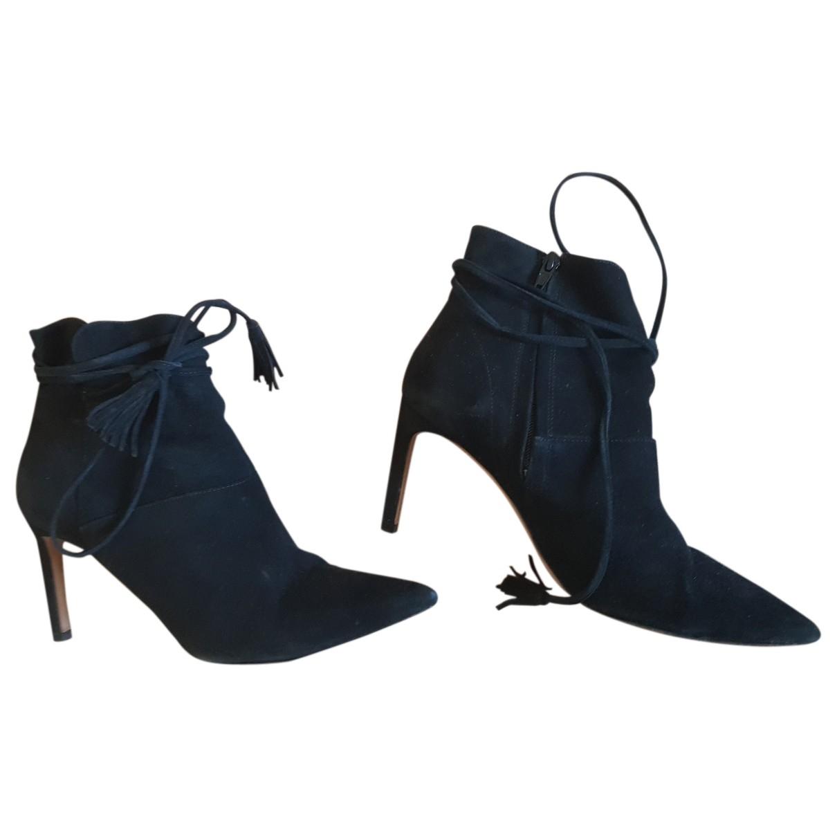 Ba&sh - Boots   pour femme en suede - noir