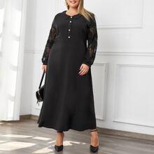 A-Linie Kleid mit Kontrast Spitze und Knopfen vorn