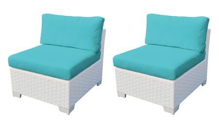 Collection TKC017b-AS-DB-ARUBA Monaco Armless Chair 2 Per Box - Sail White and Aruba