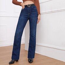 Jeans mit hoher Taille und ausgestelltem Beinschnitt ohne Guertel