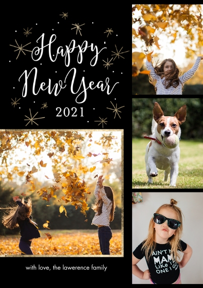 New Year's Photo Cards 5x7 Cards, Standard Cardstock 85lb, Card & Stationery -2021 Happy New Year Frames by Tumbalina