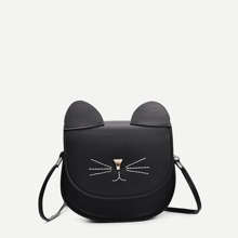 Cat Design Seam Detail Crossbody Bag