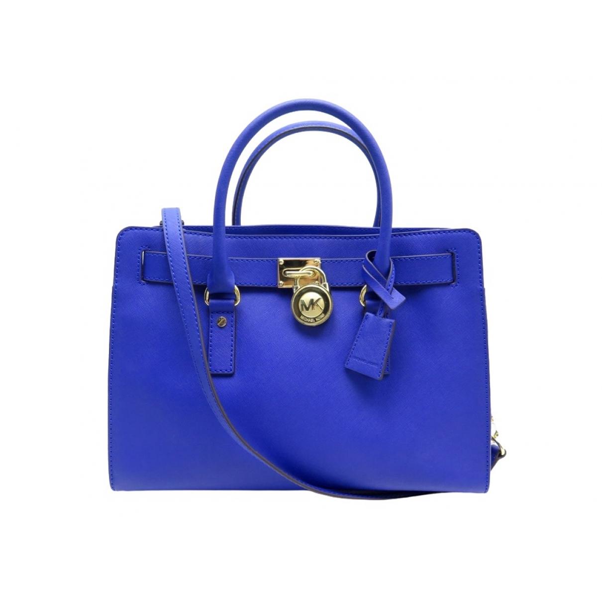 Michael Kors Hamilton Handtasche in  Blau Leder