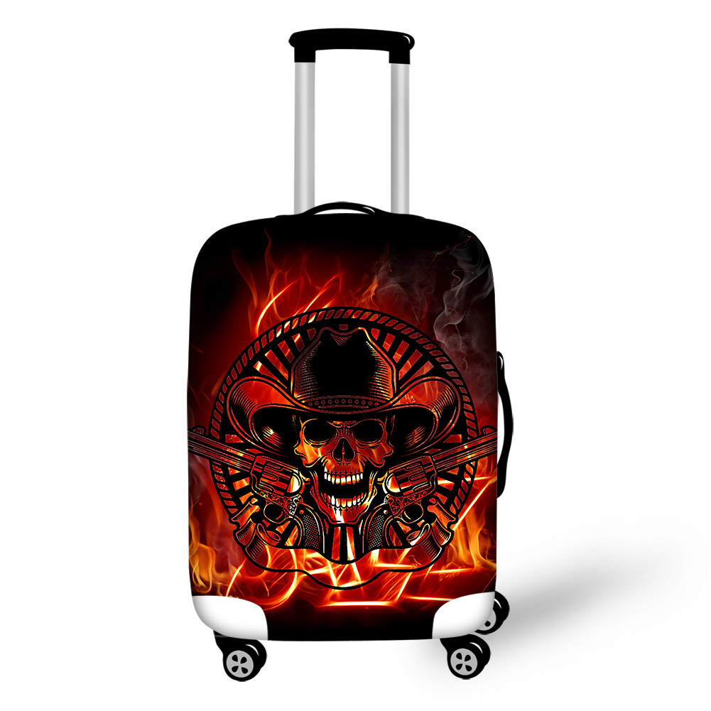 Skeleton Cowboy with Guns Personality Waterproof Washable 3D Luggage Covers