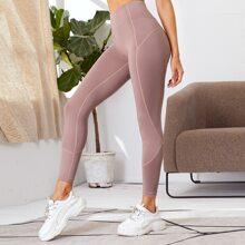 Leggings deportivos de cintura ancha con puntada