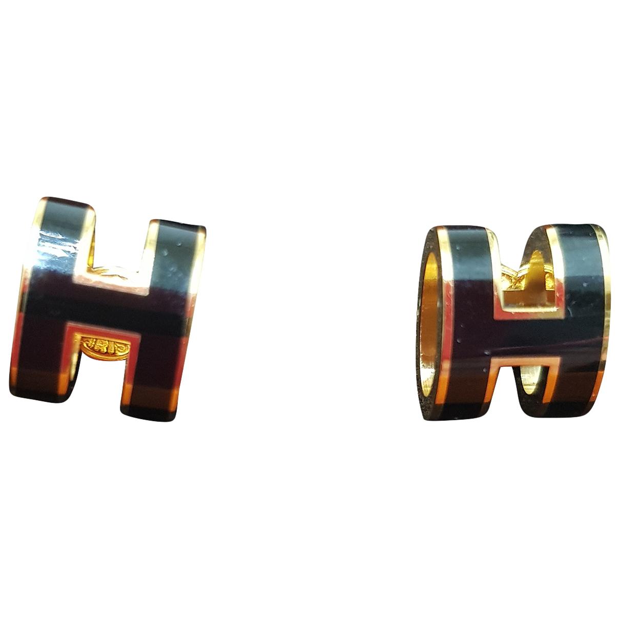 Hermes - Boucles doreilles Pop H pour femme en metal - noir