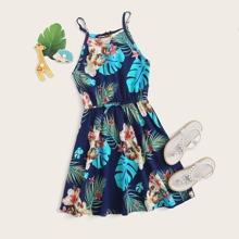 Vestido de tirante de niñas con estampado tropical