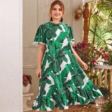 Vestido con estampado tropical bajo fruncido de puño con pompon - grande