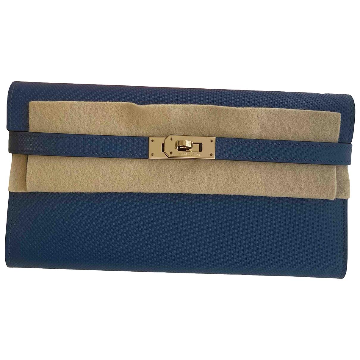Hermes - Portefeuille Kelly pour femme en cuir - bleu