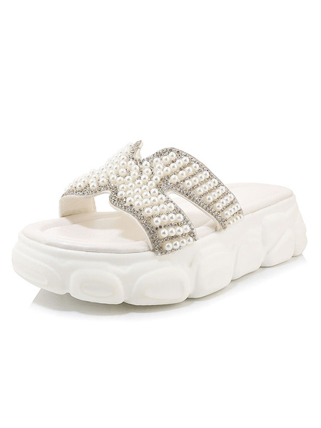 Milanoo Beach Slippers Pearl Embellished Slides Women\s Open Toe Plus Size Shoes