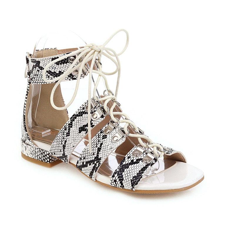 Ericdress Block Heel Zipper Open Toe Serpentine Sandals