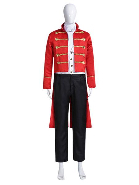 Milanoo Carnival Circus Costume Red Men\'s ShirtOvercoat Set Polyester Halloween Holidays Costumes