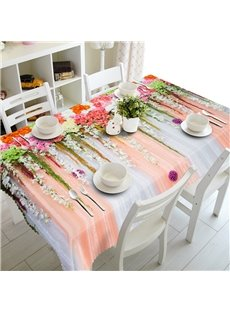 3D Romantic Flowers Wall Printed Thick Polyester Table Cover Cloth