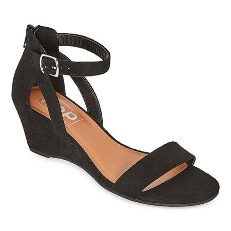 Pop Womens Strasberg Wedge Sandals, 9 1/2 Medium, Black