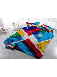 Unique Abstract Design Wear-resistant Breathable High Quality 60s Cotton 4-Piece 3D Bedding Sets