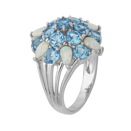 Genuine Swiss Blue Topaz and Lab-Created Opal Cluster Ring, 7 , No Color Family