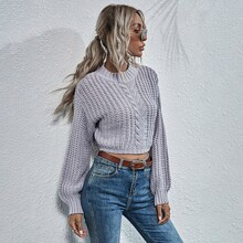 Drop Shoulder Cable Knit Sweater
