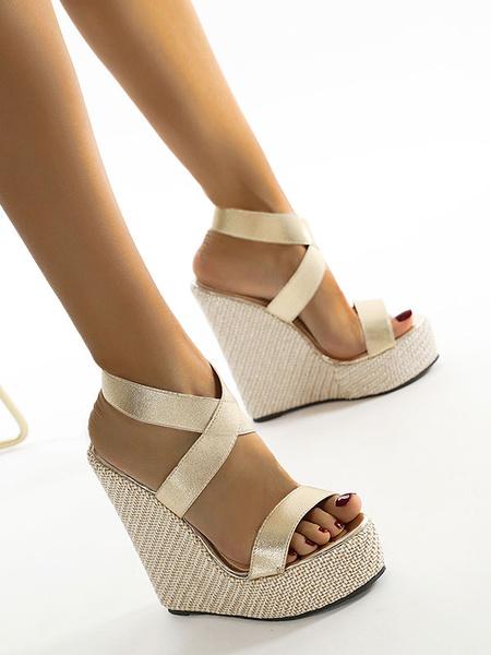 Milanoo Sandalias de cuña para mujer Zapatos de sandalias cruzadas de cuero PU con punta abierta rubia