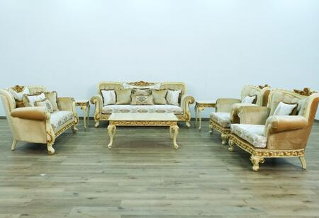Fantasia Collection Luxury Set 3 Pieces with 1 Sofa + 1 Loveseat + 1 Chair  in Gold and Off White