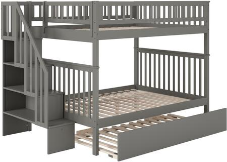 Woodland Collection AB56859 Full Over Full Size Staircase Bunk Bed with Twin Size Urban Trundle  Lead-Free  Slat Design  Bookshelf  Modern Style and