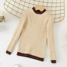Toddler Girls Ribbed Knit Contrast Binding Sweater