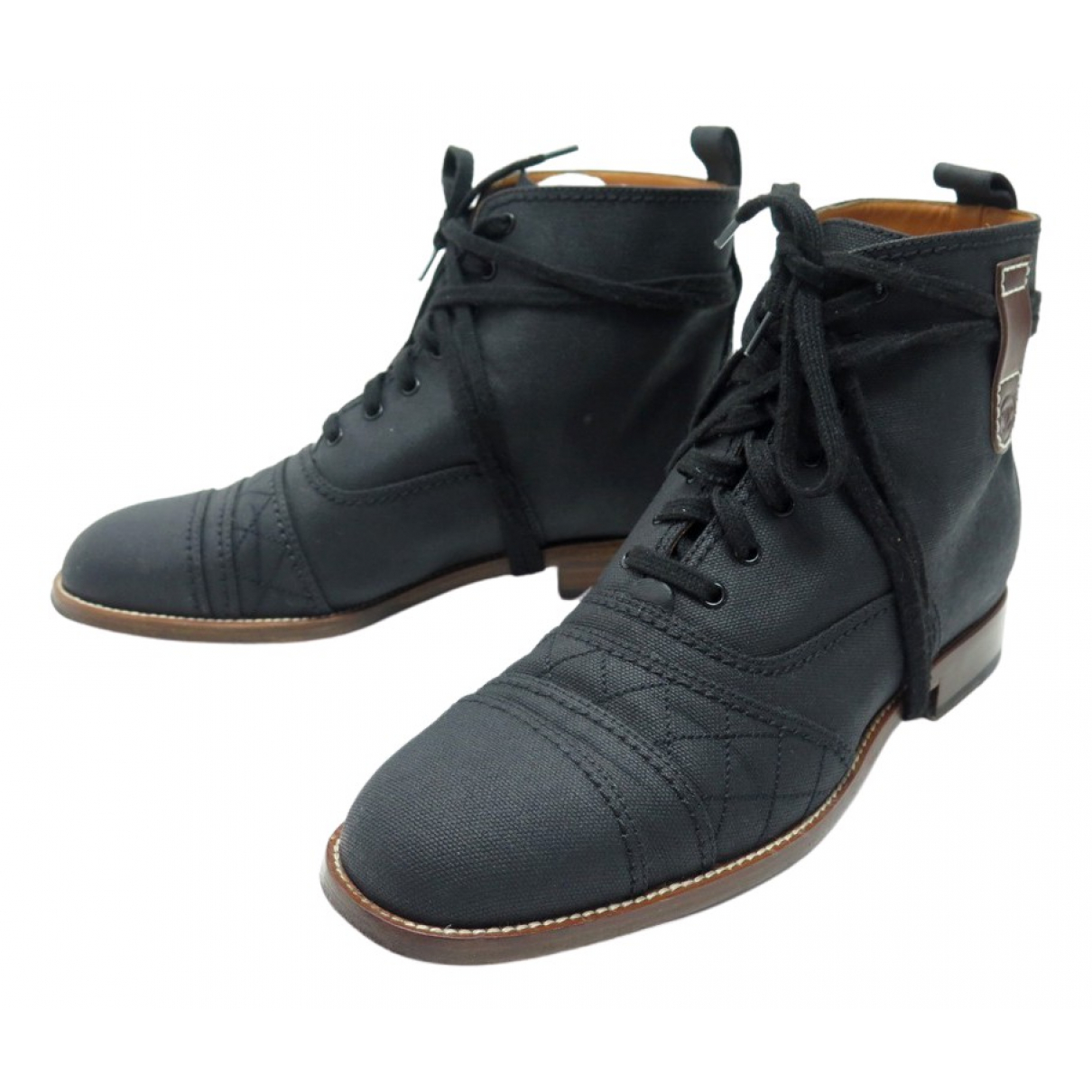 Chanel - Boots   pour femme en toile - noir