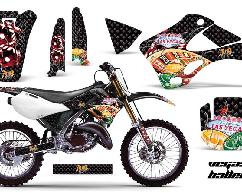 AMR Racing Dirt Bike Graphics Kit Decal Wrap For Kawasaki KX125 | KX250 1999-2002áVEGAS BLACK