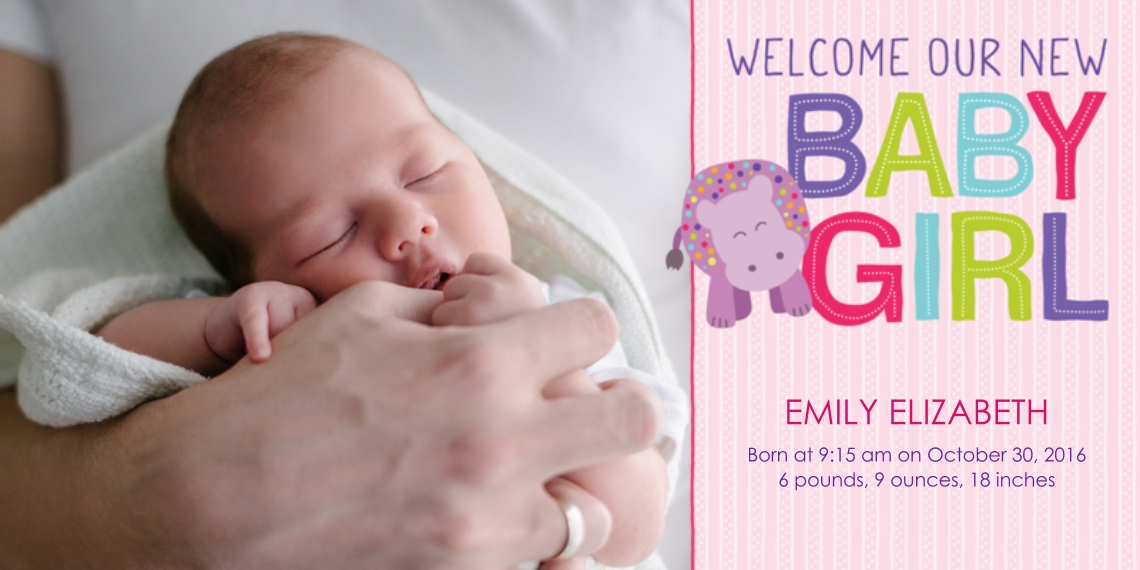 Newborn Flat Matte Photo Paper Cards with Envelopes, 4x8, Card & Stationery -Happy Hippo! Baby Announcement