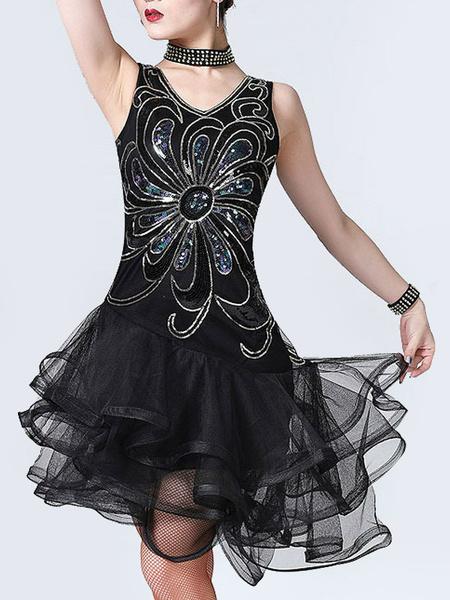 Milanoo Latin Dance Costumes Sequin Tulle Ruffle Women Dancing Costumes Halloween