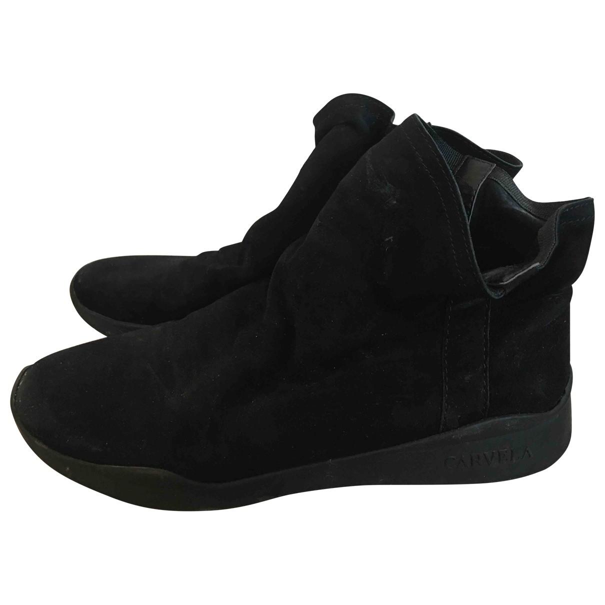 - Baskets   pour femme en suede - noir