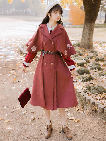 Milanoo Classic Lolita Coats Brick Red Embroidered Long Sleeve Overcoat Polyester Vintage Winter Lolita Outwears