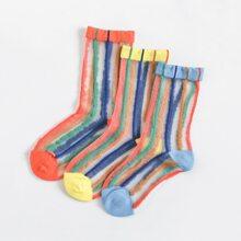 3pairs Toddler Girls Striped Mesh Socks