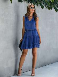 Tie Neck Frill Trim A-line Dress
