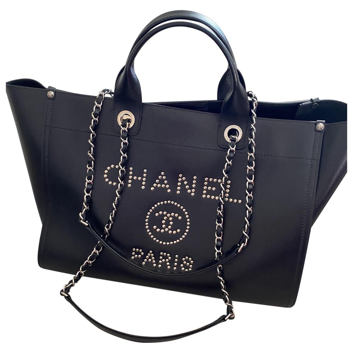Chanel - Sac a main Deauville pour femme en cuir - noir