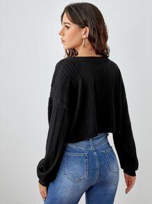 Drop Shoulder Rib-knit Crop Tee