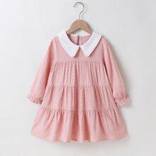 Toddler Girls Contrast Collar Ruffle Hem Babydoll Dress