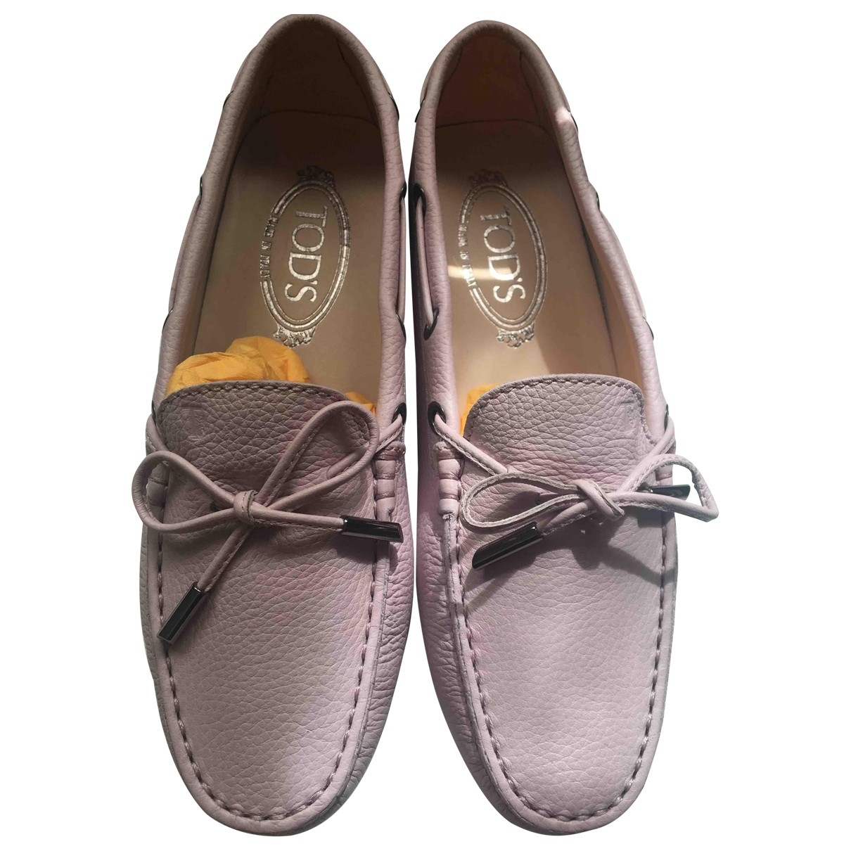 Tod's Gommino Pink Leather Flats for Women 36 EU